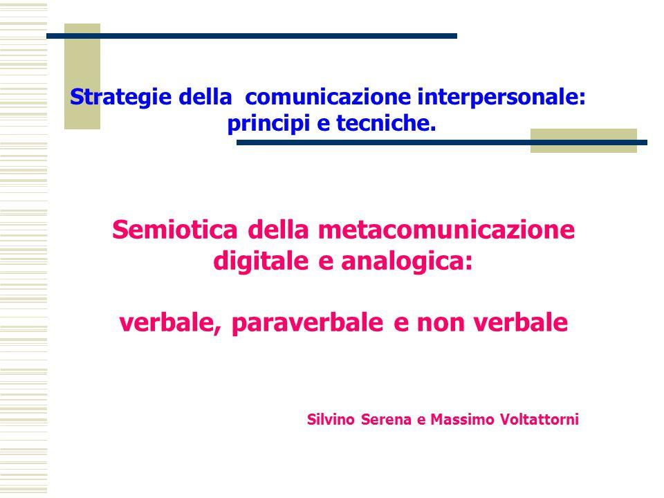Strategie della comunicazione interpersonale: principi e tecniche. Semiotica della metacomunicazione digitale e analogica: verbale, paraverbale e non