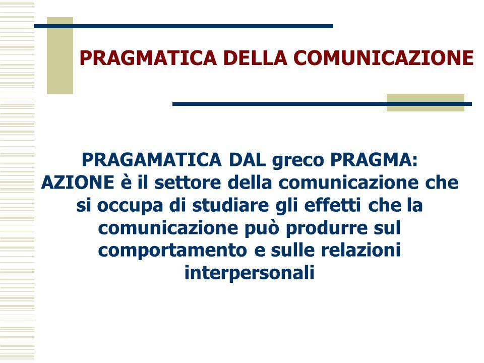 PRAGMATICA DELLA COMUNICAZIONE PRAGAMATICA DAL greco PRAGMA: AZIONE è il settore della comunicazione che si occupa di studiare gli effetti che la comu
