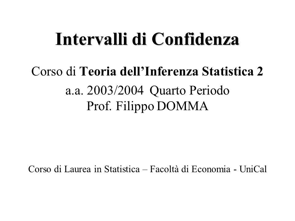 Intervalli di ConfidenzaF.Domma42 Osservati x=(x 1,…,x m ) e y=(y 1,…,y n ), l'I.C.