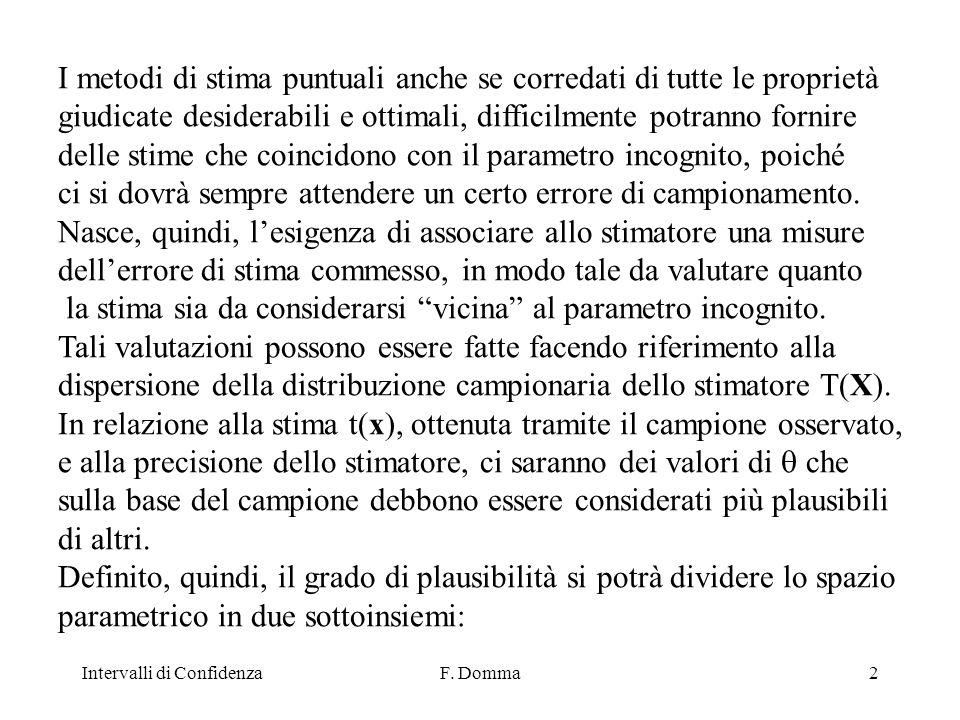 Intervalli di ConfidenzaF.Domma33 B) Media nota 1) Individuazione della Quantità Pivot.