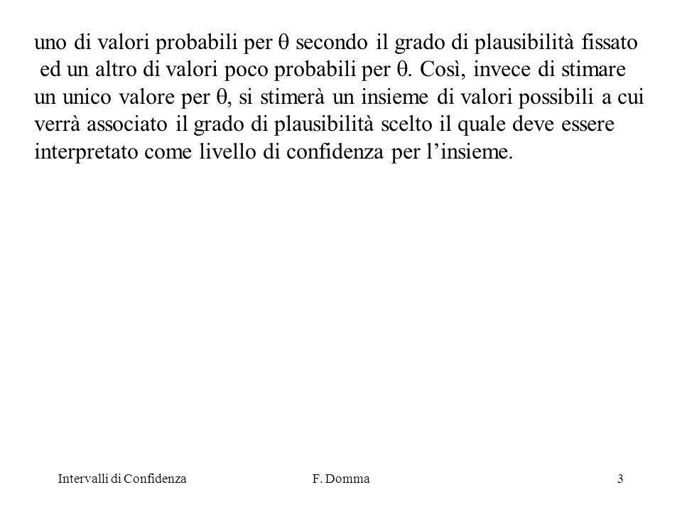 Intervalli di ConfidenzaF.Domma4 Sia X un c.c.