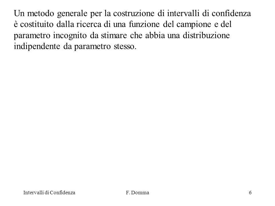 Intervalli di ConfidenzaF.Domma37 Vogliamo costruire un I.C.