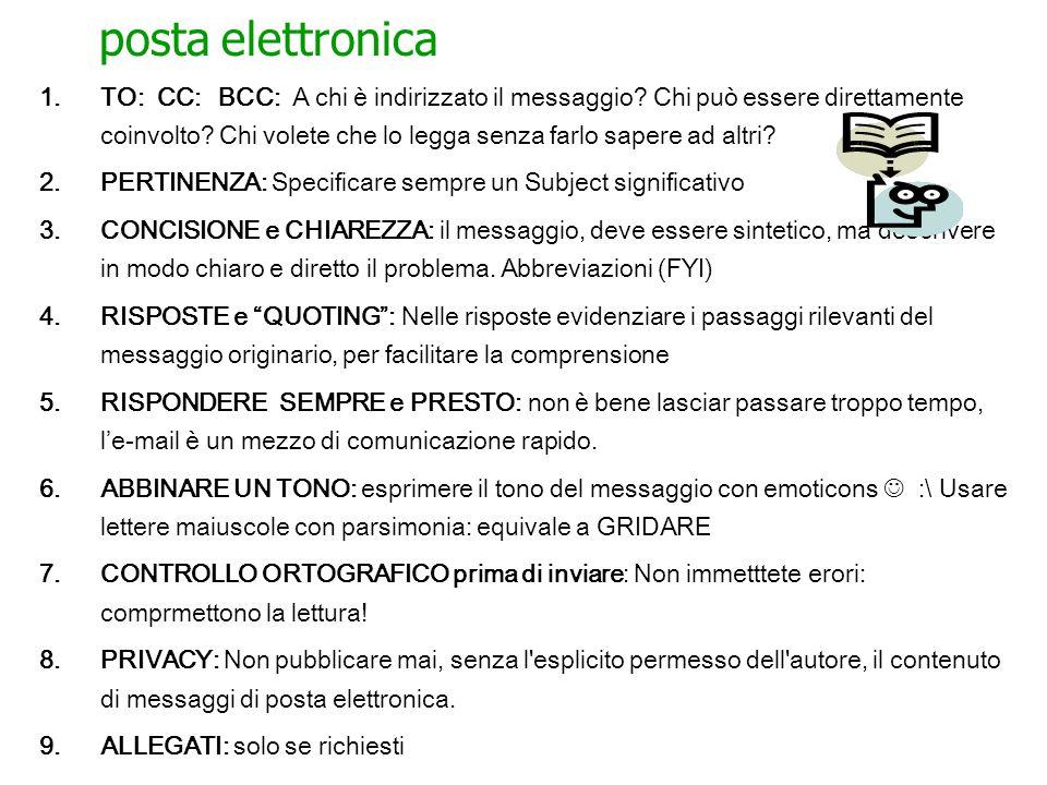 posta elettronica 1.TO: CC: BCC: A chi è indirizzato il messaggio.