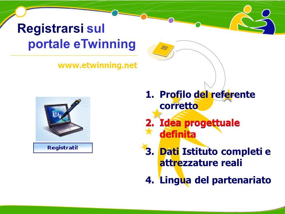 Registrarsi sul portale eTwinning 1.Profilo del referente corretto 2.Idea progettuale definita 3.Dati Istituto completi e attrezzature reali 4.Lingua del partenariato www.etwinning.net 2.Idea progettuale definita