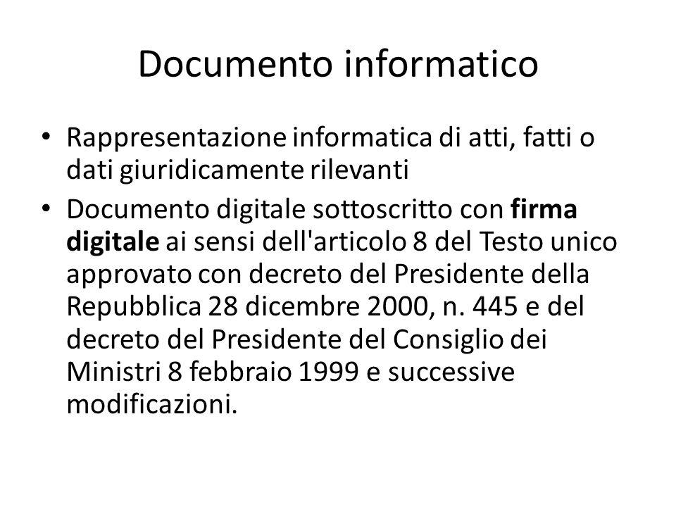 Tipologie di documenti informatici Documento informatico non sottoscritto digitalmente Documento informatico sottoscritto con firma elettronica Documento informatico sottoscritto con firma elettronica qualificata o firma digitale (Conservazione sostitutiva) E-mail