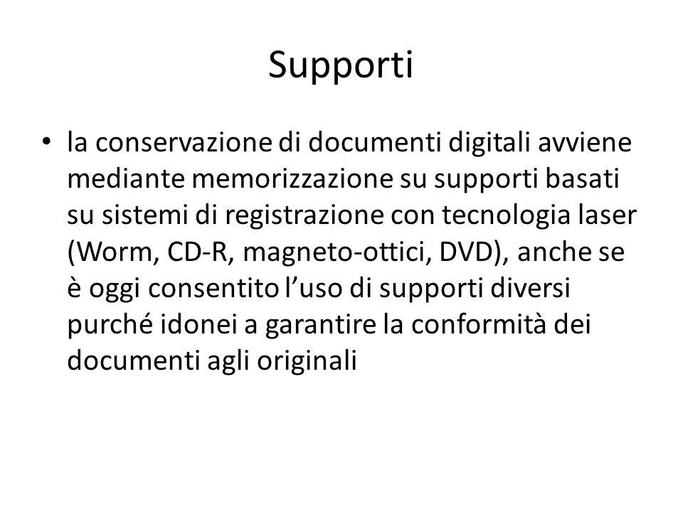 Supporti la conservazione di documenti digitali avviene mediante memorizzazione su supporti basati su sistemi di registrazione con tecnologia laser (Worm, CD-R, magneto-ottici, DVD), anche se è oggi consentito l'uso di supporti diversi purché idonei a garantire la conformità dei documenti agli originali