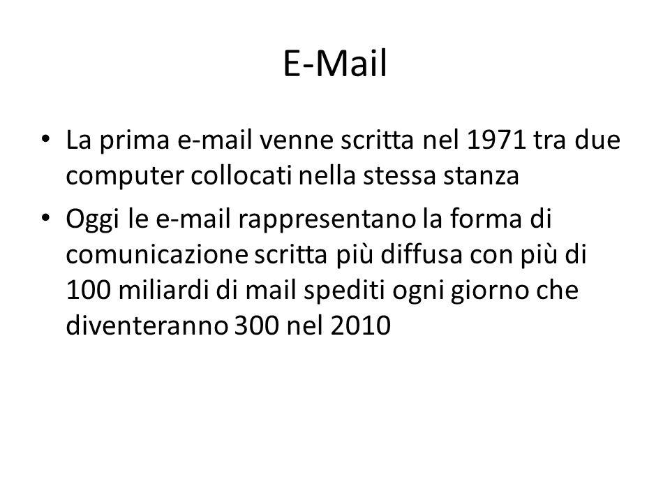 E-Mail La prima e-mail venne scritta nel 1971 tra due computer collocati nella stessa stanza Oggi le e-mail rappresentano la forma di comunicazione scritta più diffusa con più di 100 miliardi di mail spediti ogni giorno che diventeranno 300 nel 2010