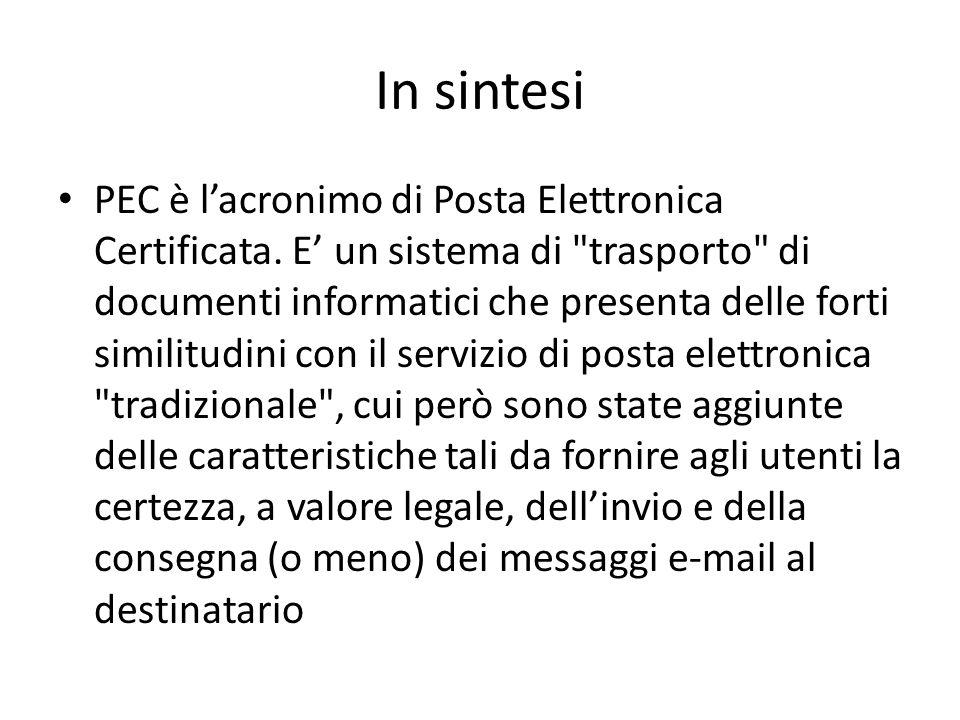 In sintesi PEC è l'acronimo di Posta Elettronica Certificata.