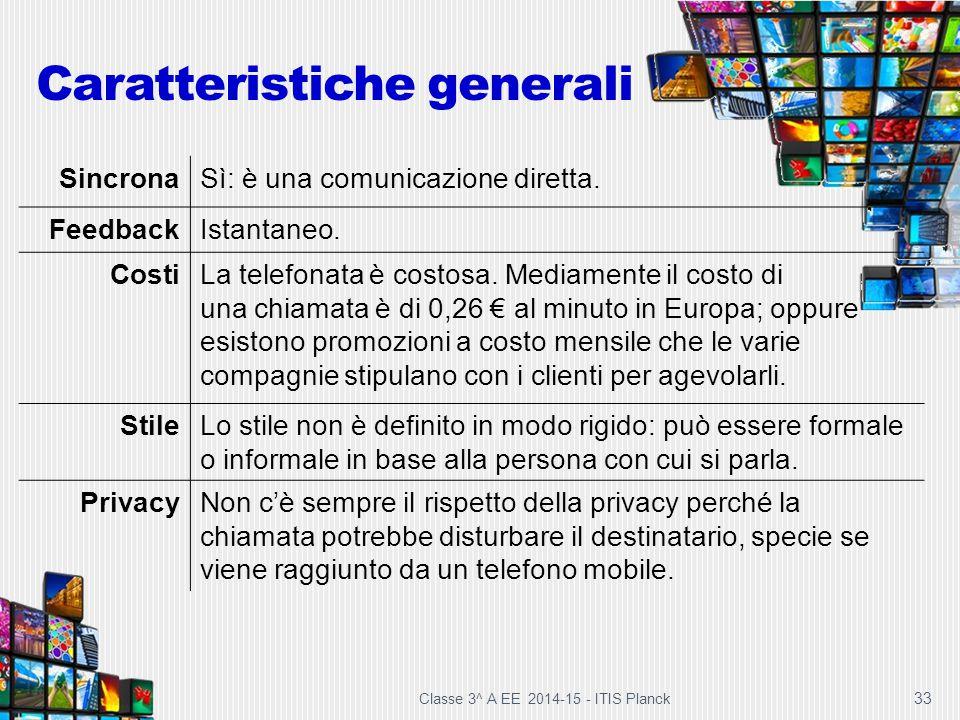 33 Caratteristiche generali SincronaSì: è una comunicazione diretta. FeedbackIstantaneo. CostiLa telefonata è costosa. Mediamente il costo di una chia