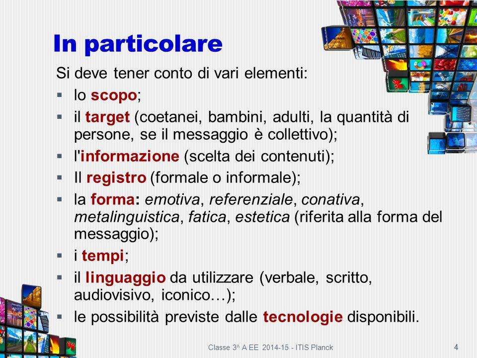 Classe 3^ A EE 2014-15 - ITIS Planck 4 4 Si deve tener conto di vari elementi:  lo scopo;  il target (coetanei, bambini, adulti, la quantità di pers