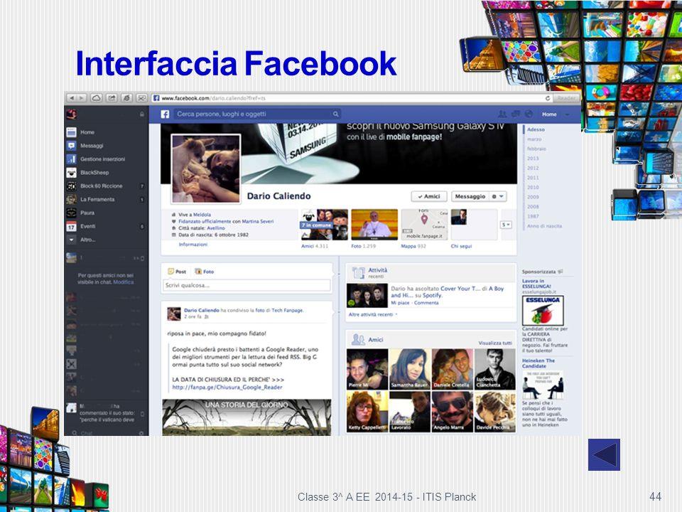 Interfaccia Facebook Classe 3^ A EE 2014-15 - ITIS Planck 44