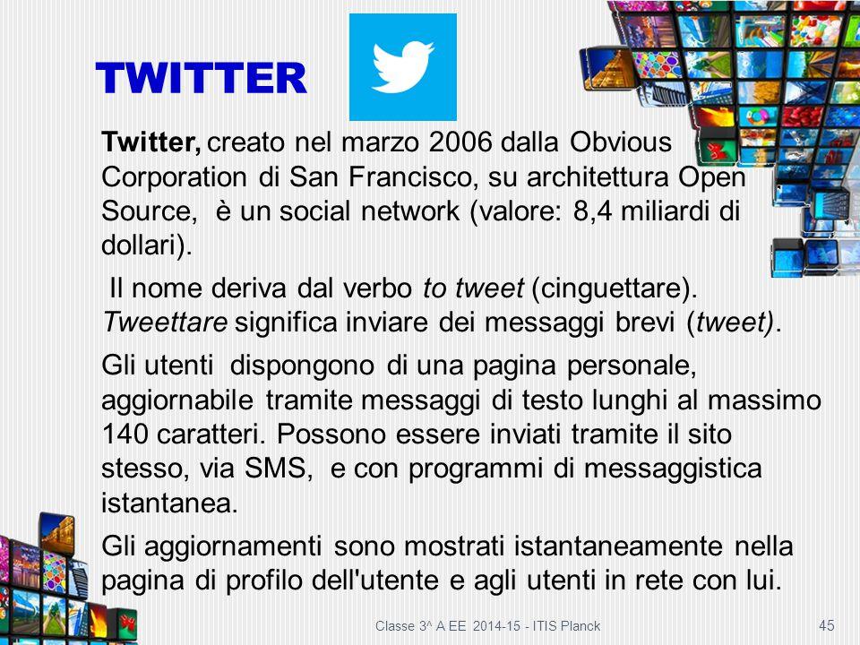 45 TWITTER Twitter, creato nel marzo 2006 dalla Obvious Corporation di San Francisco, su architettura Open Source, è un social network (valore: 8,4 mi
