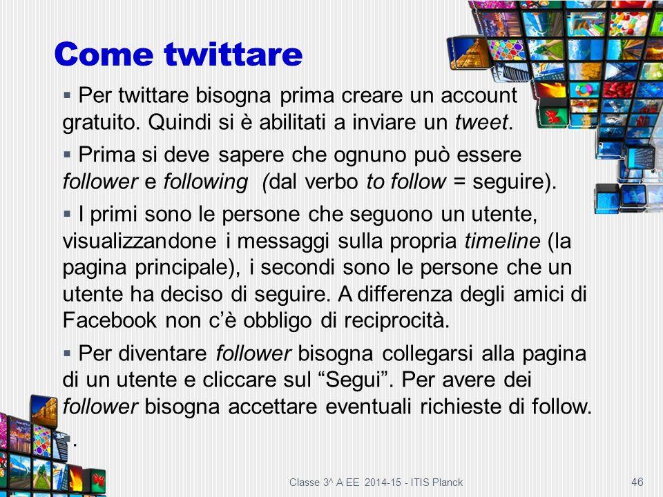46 Come twittare  Per twittare bisogna prima creare un account gratuito. Quindi si è abilitati a inviare un tweet.  Prima si deve sapere che ognuno