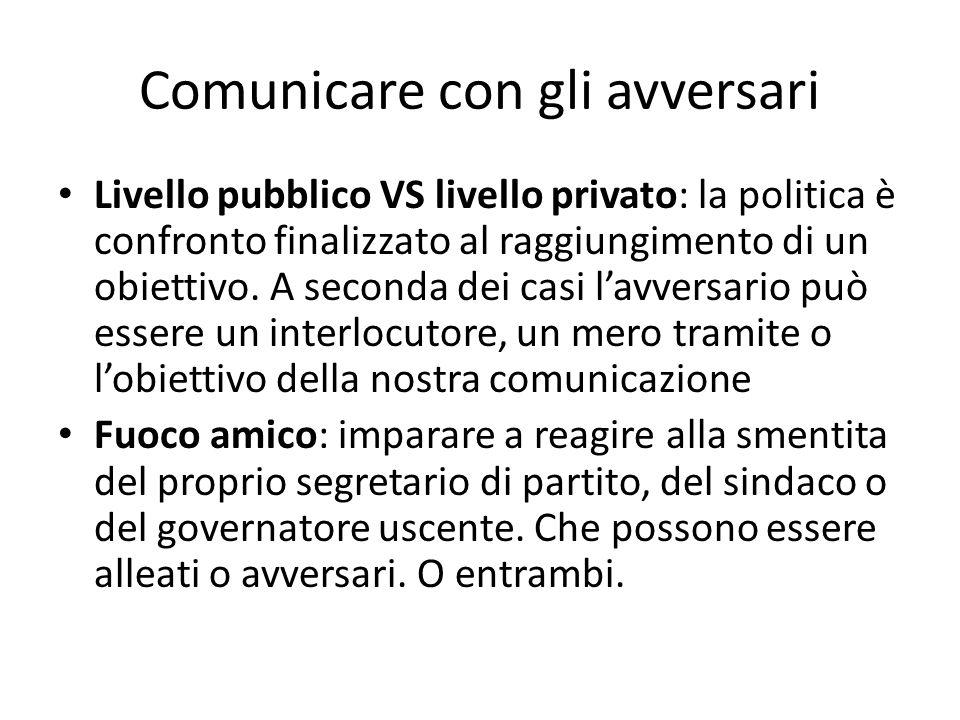 Comunicare con gli avversari Livello pubblico VS livello privato: la politica è confronto finalizzato al raggiungimento di un obiettivo.