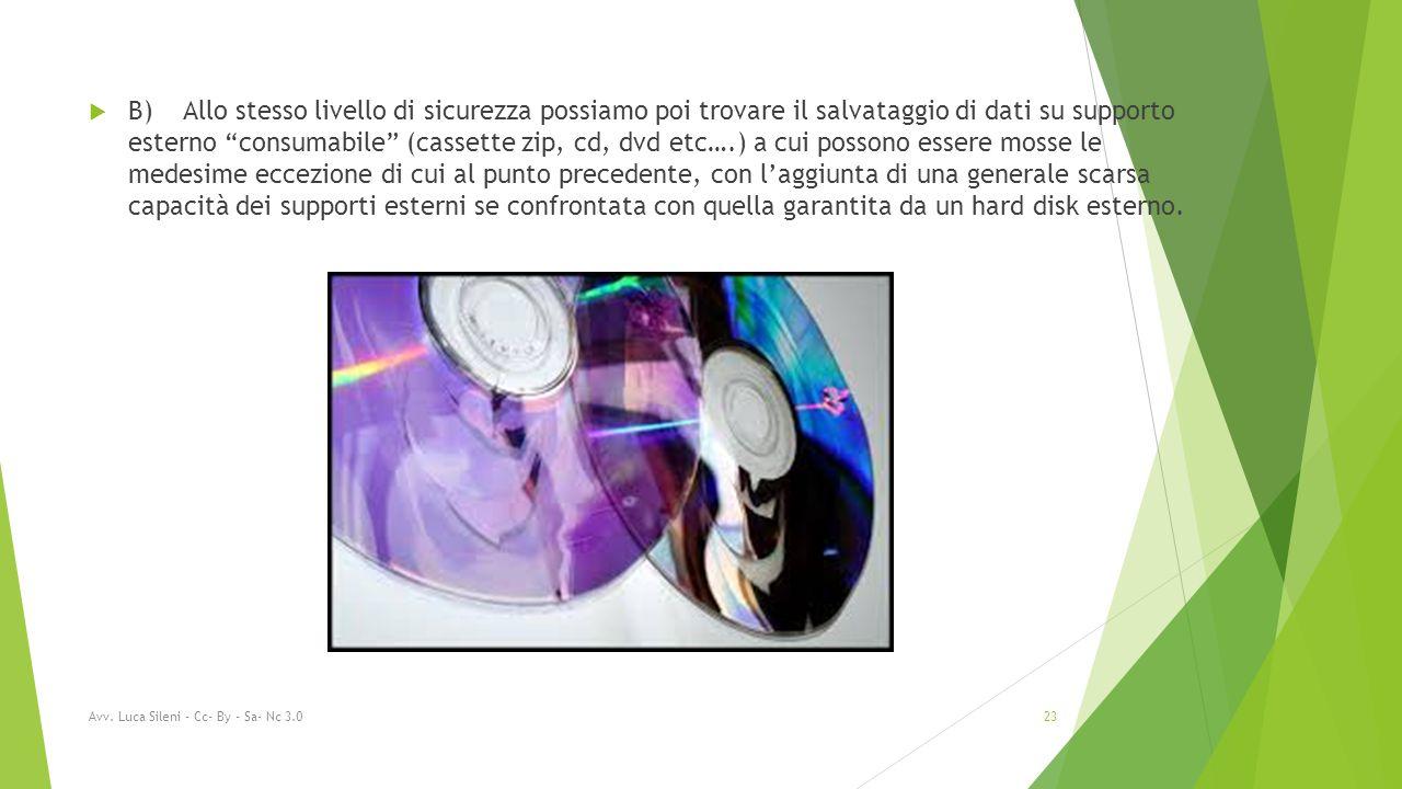  B) Allo stesso livello di sicurezza possiamo poi trovare il salvataggio di dati su supporto esterno consumabile (cassette zip, cd, dvd etc….) a cui possono essere mosse le medesime eccezione di cui al punto precedente, con l'aggiunta di una generale scarsa capacità dei supporti esterni se confrontata con quella garantita da un hard disk esterno.