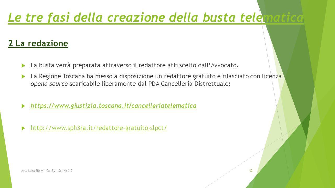 Le tre fasi della creazione della busta telematica 2 La redazione  La busta verrà preparata attraverso il redattore atti scelto dall'Avvocato.