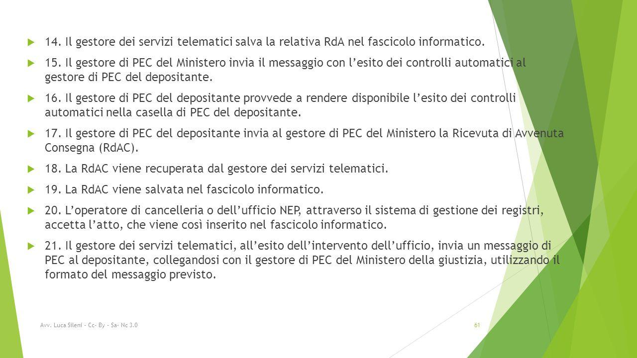 14. Il gestore dei servizi telematici salva la relativa RdA nel fascicolo informatico.