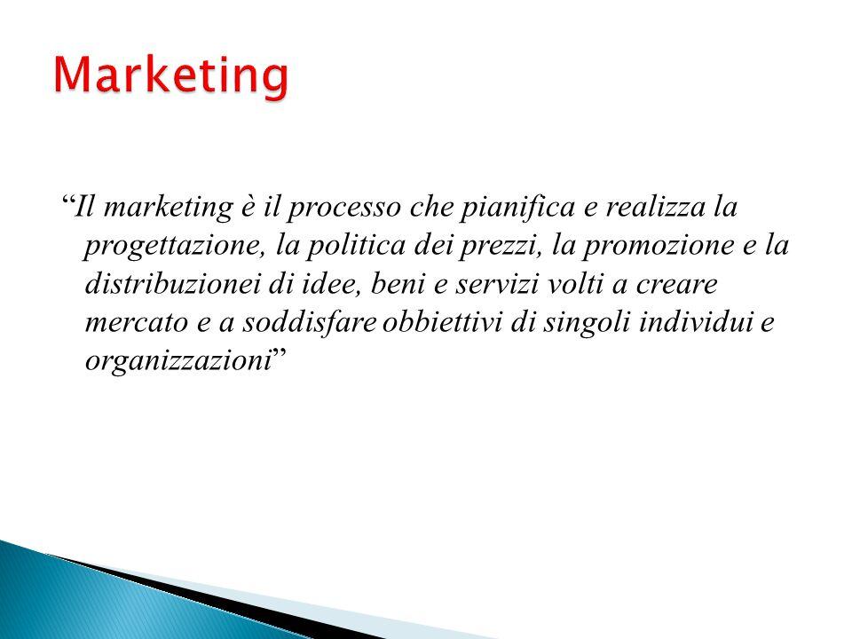 """""""Il marketing è il processo che pianifica e realizza la progettazione, la politica dei prezzi, la promozione e la distribuzionei di idee, beni e servi"""