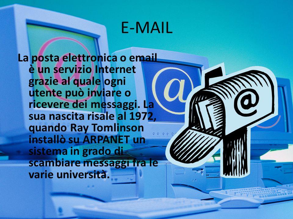 una busta (envelope) una sezione di intestazioni (header) un corpo del messaggio (body) Un messaggio di e-mail è costituito da: