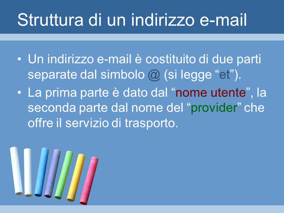 Struttura di un indirizzo e-mail Un indirizzo e-mail è costituito di due parti separate dal simbolo @ (si legge et ).