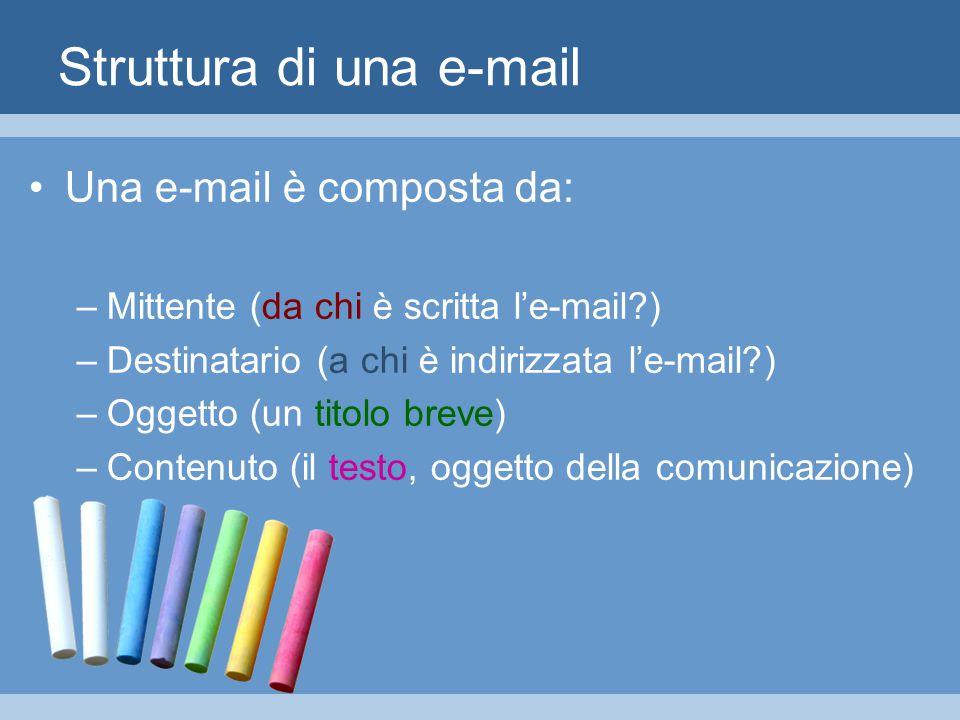 Struttura di una e-mail Una e-mail è composta da: –Mittente (da chi è scritta l'e-mail ) –Destinatario (a chi è indirizzata l'e-mail ) –Oggetto (un titolo breve) –Contenuto (il testo, oggetto della comunicazione)