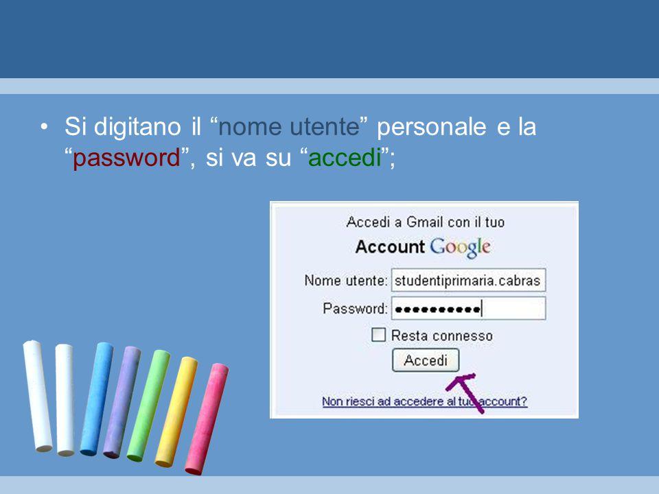 Si digitano il nome utente personale e la password , si va su accedi ;