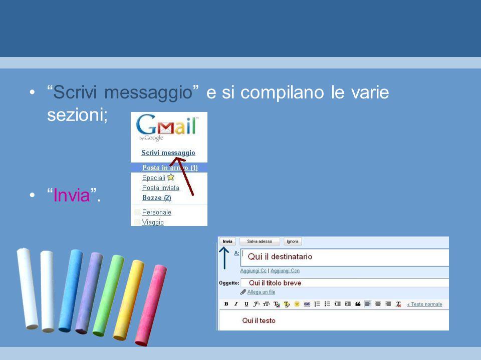 Scrivi messaggio e si compilano le varie sezioni; Invia .