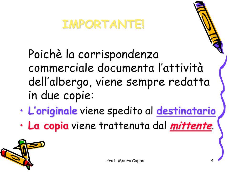 Prof. Mauro Coppa3 Fanno parte della corrispondenza:  Le lettere d'affari qualunque esse siano (richieste, conferme, opzioni, annullamenti, variazion