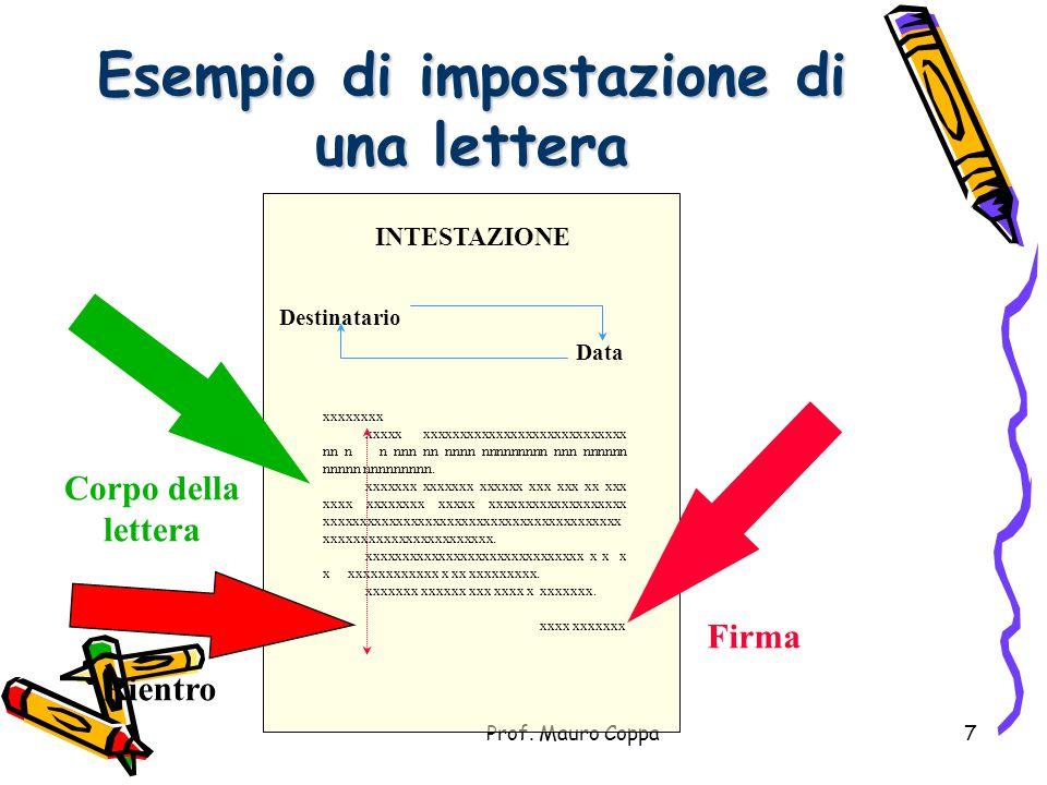 Prof. Mauro Coppa6 Inconclusione In conclusione...  Bisogna tener presente che tutta la corrispondenza contiene la data e, molto importante, la firma