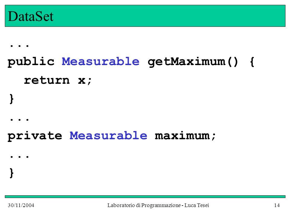 30/11/2004Laboratorio di Programmazione - Luca Tesei14 DataSet...