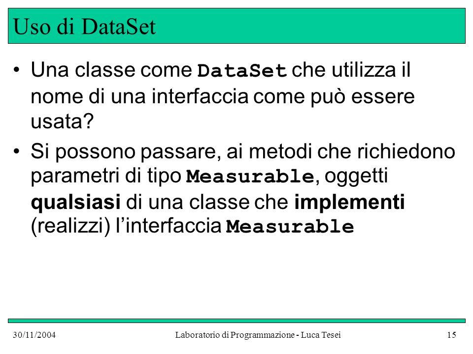 30/11/2004Laboratorio di Programmazione - Luca Tesei15 Uso di DataSet Una classe come DataSet che utilizza il nome di una interfaccia come può essere usata.