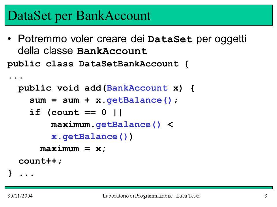 30/11/2004Laboratorio di Programmazione - Luca Tesei3 DataSet per BankAccount Potremmo voler creare dei DataSet per oggetti della classe BankAccount public class DataSetBankAccount {...