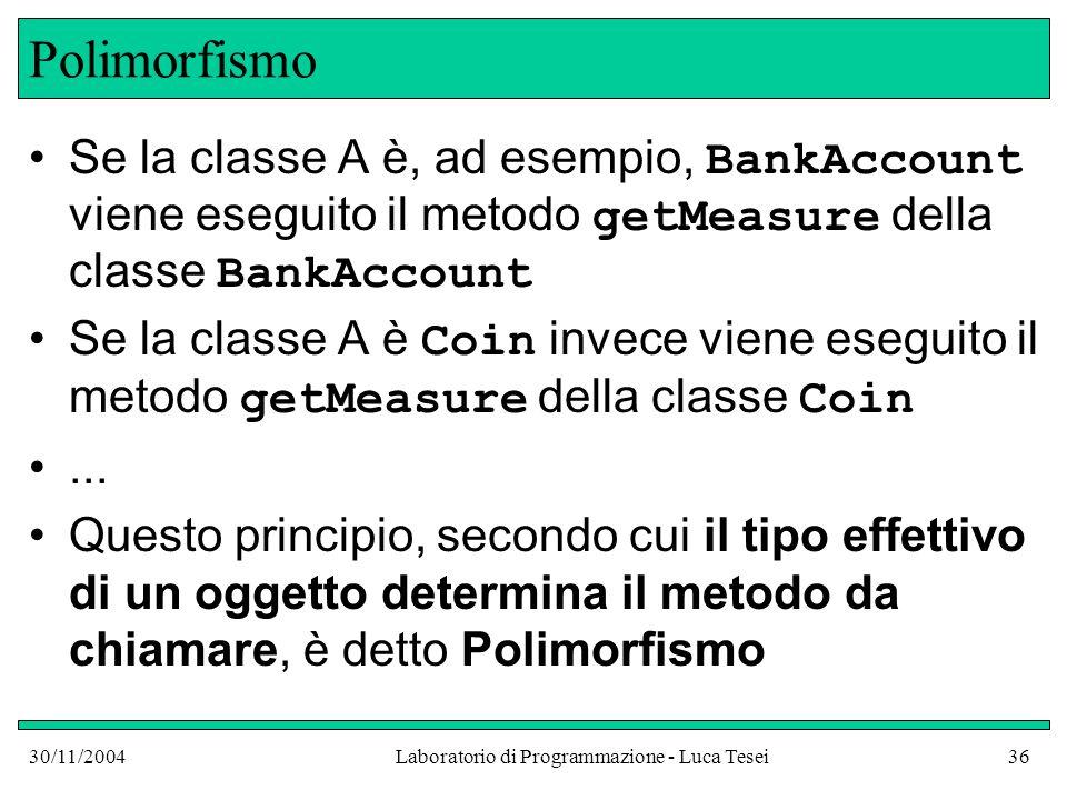 30/11/2004Laboratorio di Programmazione - Luca Tesei36 Polimorfismo Se la classe A è, ad esempio, BankAccount viene eseguito il metodo getMeasure della classe BankAccount Se la classe A è Coin invece viene eseguito il metodo getMeasure della classe Coin...