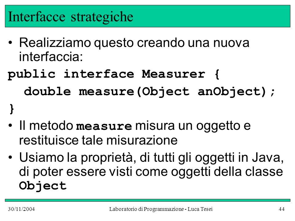 30/11/2004Laboratorio di Programmazione - Luca Tesei44 Interfacce strategiche Realizziamo questo creando una nuova interfaccia: public interface Measurer { double measure(Object anObject); } Il metodo measure misura un oggetto e restituisce tale misurazione Usiamo la proprietà, di tutti gli oggetti in Java, di poter essere visti come oggetti della classe Object