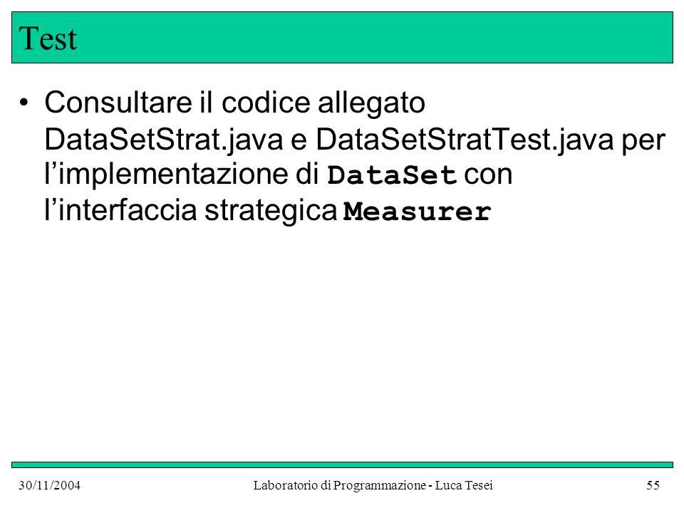 30/11/2004Laboratorio di Programmazione - Luca Tesei55 Test Consultare il codice allegato DataSetStrat.java e DataSetStratTest.java per l'implementazione di DataSet con l'interfaccia strategica Measurer