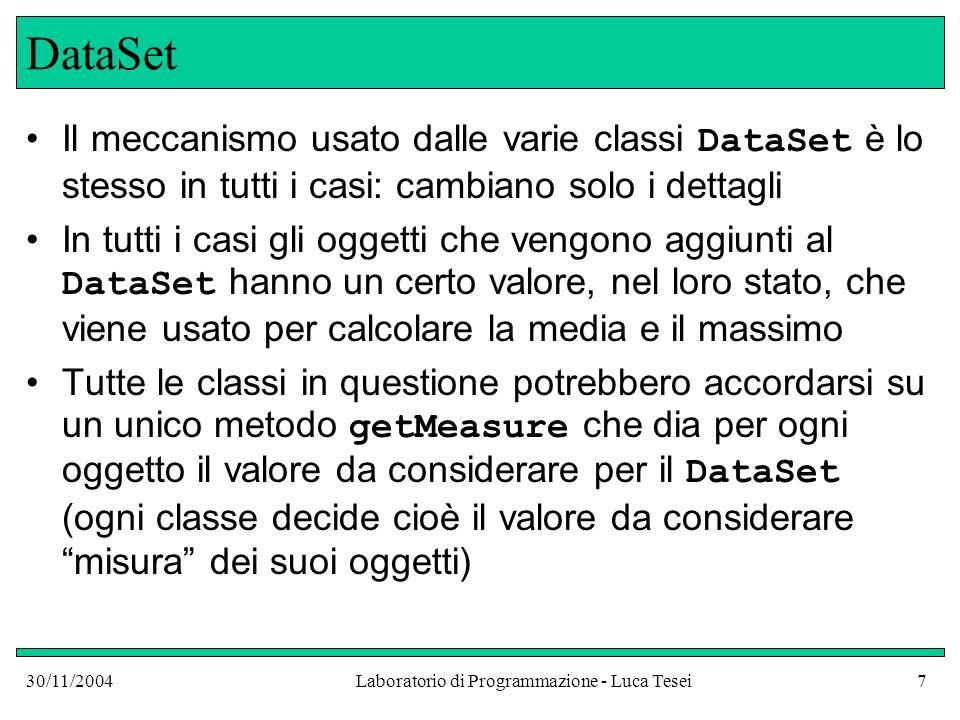 30/11/2004Laboratorio di Programmazione - Luca Tesei7 DataSet Il meccanismo usato dalle varie classi DataSet è lo stesso in tutti i casi: cambiano solo i dettagli In tutti i casi gli oggetti che vengono aggiunti al DataSet hanno un certo valore, nel loro stato, che viene usato per calcolare la media e il massimo Tutte le classi in questione potrebbero accordarsi su un unico metodo getMeasure che dia per ogni oggetto il valore da considerare per il DataSet (ogni classe decide cioè il valore da considerare misura dei suoi oggetti)