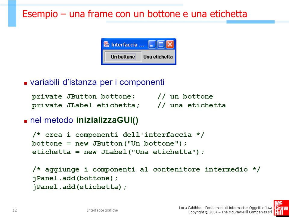 Luca Cabibbo – Fondamenti di informatica: Oggetti e Java Copyright © 2004 – The McGraw-Hill Companies srl Interfacce grafiche12 Esempio – una frame co