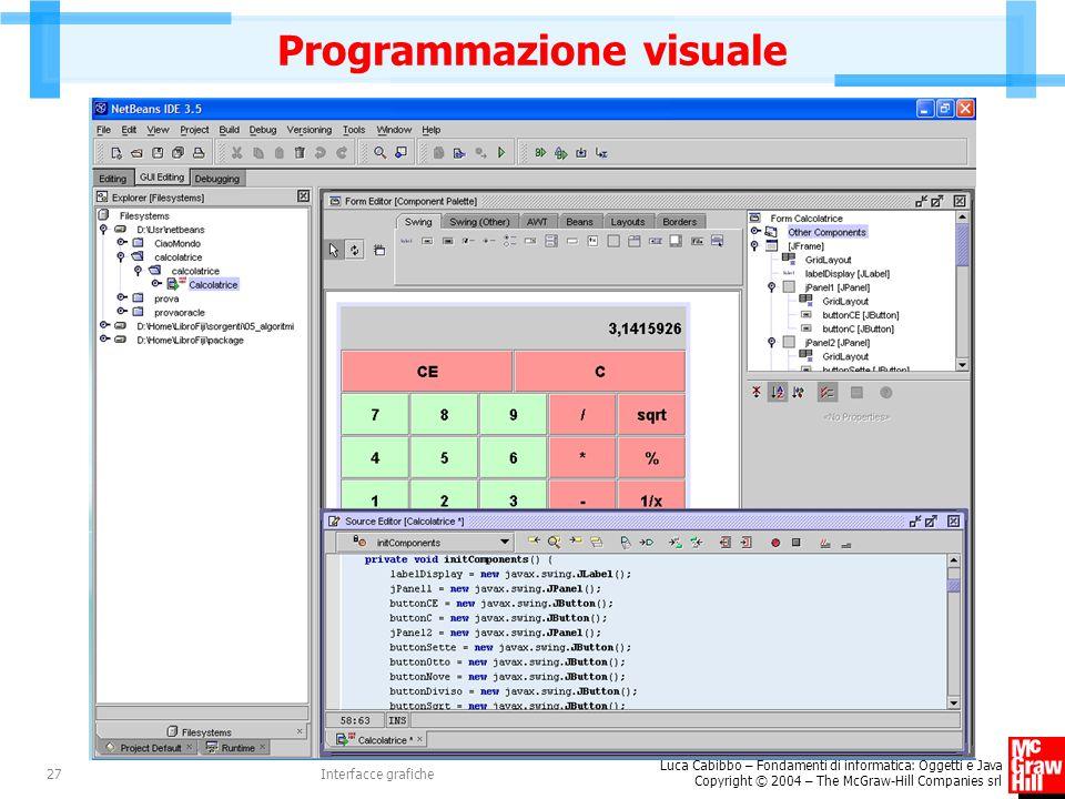 Luca Cabibbo – Fondamenti di informatica: Oggetti e Java Copyright © 2004 – The McGraw-Hill Companies srl Interfacce grafiche27 Programmazione visuale