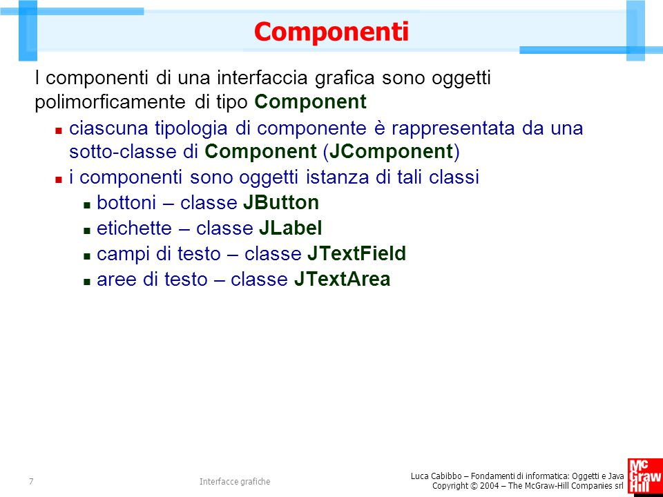 Luca Cabibbo – Fondamenti di informatica: Oggetti e Java Copyright © 2004 – The McGraw-Hill Companies srl Interfacce grafiche7 Componenti I componenti di una interfaccia grafica sono oggetti polimorficamente di tipo Component ciascuna tipologia di componente è rappresentata da una sotto-classe di Component (JComponent) i componenti sono oggetti istanza di tali classi bottoni – classe JButton etichette – classe JLabel campi di testo – classe JTextField aree di testo – classe JTextArea