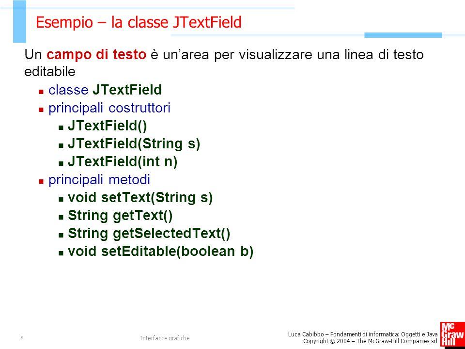 Luca Cabibbo – Fondamenti di informatica: Oggetti e Java Copyright © 2004 – The McGraw-Hill Companies srl Interfacce grafiche8 Esempio – la classe JTextField Un campo di testo è un'area per visualizzare una linea di testo editabile classe JTextField principali costruttori JTextField() JTextField(String s) JTextField(int n) principali metodi void setText(String s) String getText() String getSelectedText() void setEditable(boolean b)