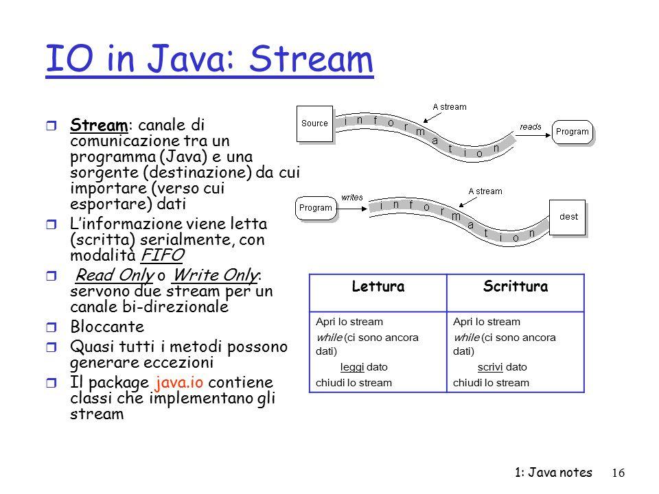 1: Java notes16 IO in Java: Stream r Stream: canale di comunicazione tra un programma (Java) e una sorgente (destinazione) da cui importare (verso cui