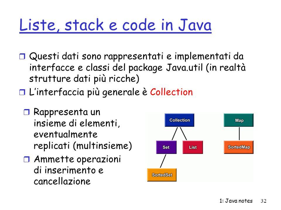 1: Java notes32 Liste, stack e code in Java r Questi dati sono rappresentati e implementati da interfacce e classi del package Java.util (in realtà st