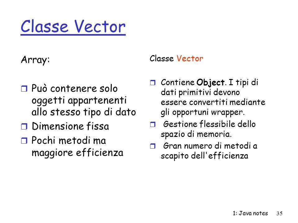 1: Java notes35 Classe Vector Array: r Può contenere solo oggetti appartenenti allo stesso tipo di dato r Dimensione fissa r Pochi metodi ma maggiore
