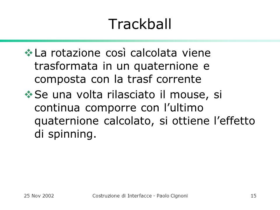 25 Nov 2002Costruzione di Interfacce - Paolo Cignoni15 Trackball  La rotazione così calcolata viene trasformata in un quaternione e composta con la trasf corrente  Se una volta rilasciato il mouse, si continua comporre con l'ultimo quaternione calcolato, si ottiene l'effetto di spinning.