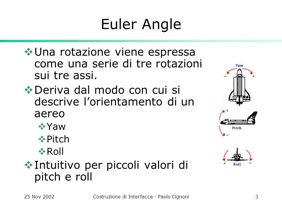 25 Nov 2002Costruzione di Interfacce - Paolo Cignoni24 Template  In questo modo si puo far fare al compilatore parte del processing template Draw() { glBegin(GL_TRIANGLES); vector ::const_iterator fi; for(fi=face.begin();fi!=face.end();++fi) { if(NormFlag) glNormal((*fi).v[0]->n); if(TexFlag) glTexCoord2f((*fi).v[0]->s,(*fi).v[0]->t); glVertex((*fi).v[0]->p); … if(NormFlag) glNormal((*fi).v[2]->n); if(TexFlag) glTexCoord2f((*fi).v[2]->s,(*fi).v[2]->t); glVertex((*fi).v[2]->p); } glEnd(); }
