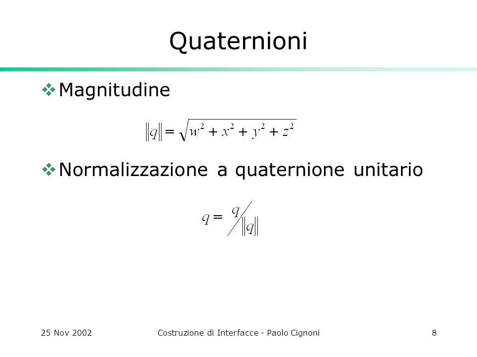 25 Nov 2002Costruzione di Interfacce - Paolo Cignoni19 CITrackBall void CMBGLView::OnDraw(CDC* pDC) { … // World To Camera Transformation gluLookAt(0,0,10,0,0,0,0,1,0); // Apply the trackball glMultMatrix(m_matRot); glRotatef( -90,0,1,0); glRotatef( 90,1,0,0); // moto di precessione: una rotazione il cui asse ruota intorno all asse z glRotated( 10,cos(ToRad(-45+CurAngleDeg*.5)),sin(ToRad(- 45+CurAngleDeg*.5)),0); … if(pd->m.Empty()) pd->m.Generate(); pd->m.Ring.Draw (); SwapBuffers(m_pDC->GetSafeHdc()); }