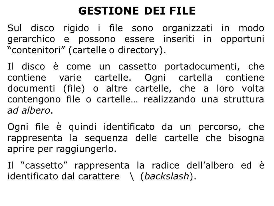 """GESTIONE DEI FILE Sul disco rigido i file sono organizzati in modo gerarchico e possono essere inseriti in opportuni """"contenitori"""" (cartelle o directo"""