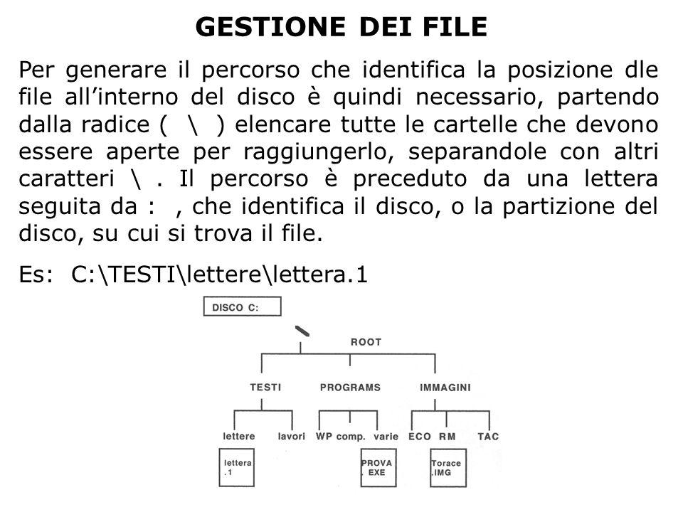 GESTIONE DEI FILE Per generare il percorso che identifica la posizione dle file all'interno del disco è quindi necessario, partendo dalla radice ( \ )