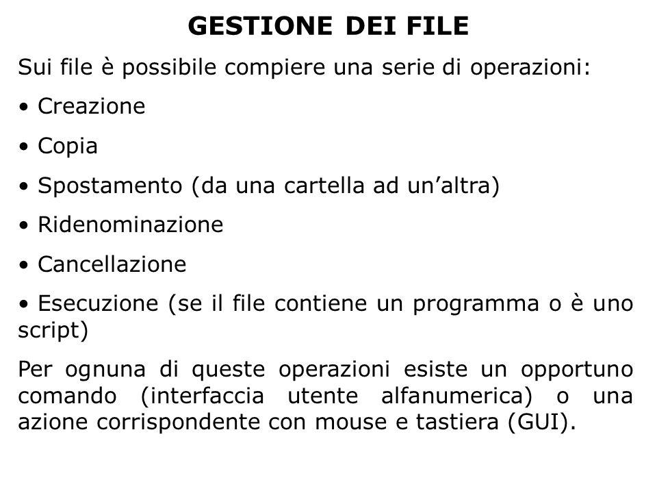 GESTIONE DEI FILE Sui file è possibile compiere una serie di operazioni: Creazione Copia Spostamento (da una cartella ad un'altra) Ridenominazione Can