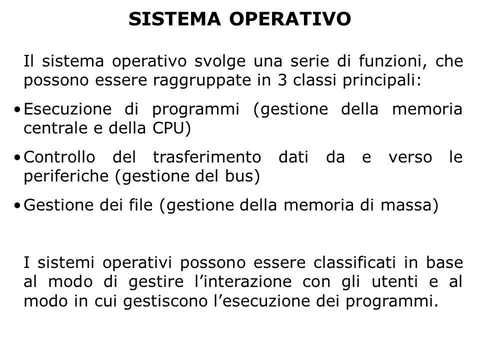 SISTEMA OPERATIVO Il sistema operativo svolge una serie di funzioni, che possono essere raggruppate in 3 classi principali: Esecuzione di programmi (g